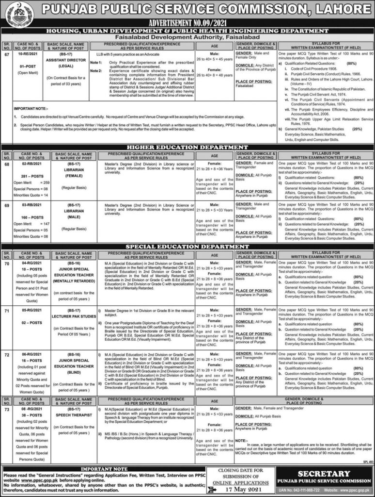 PPSC ADVERTIESMENT NI.09/2021
